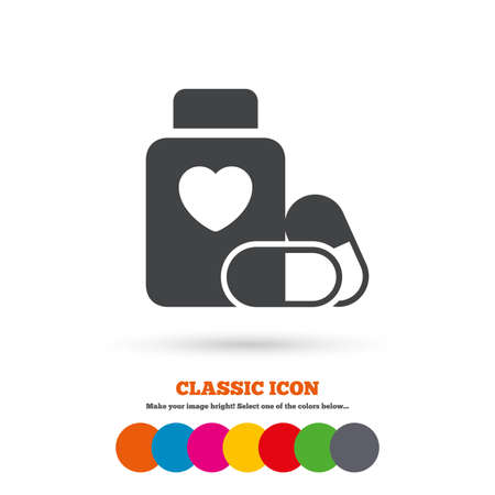 pills bottle: Medical heart pills bottle sign icon. Pharmacy medicine drugs symbol. Classic flat icon. Colored circles. Vector