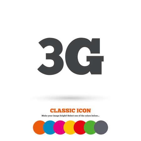 3g: Icono de signo 3G. Telecomunicaciones m�viles s�mbolo tecnolog�a. Icono plana Classic. C�rculos coloreados. Vector
