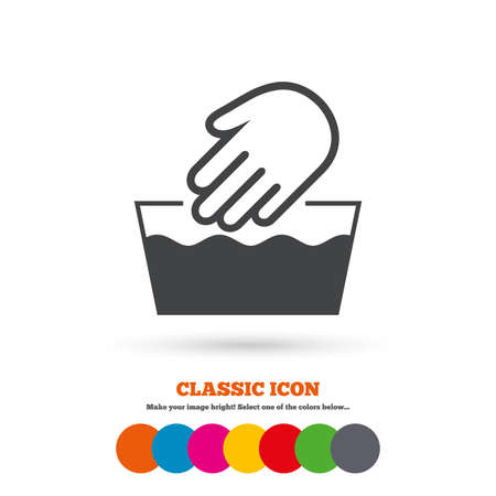 washable: Hand wash sign icon. Not machine washable symbol. Classic flat icon. Colored circles. Vector