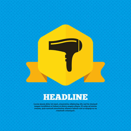 blow drying: Hairdryer sign icon. Hair drying symbol. Yellow label tag. Circles seamless pattern on back. Vector Illustration