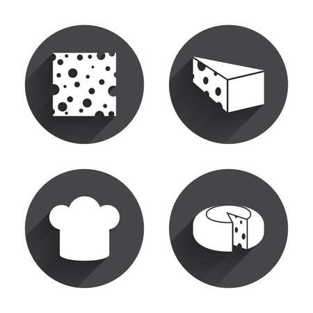 sliced: Iconos queso. Signo de la rueda del queso redondo. Rebanado del alimento con los s�mbolos principales del sombrero. C�rculos botones con larga sombra plana. Vector Vectores
