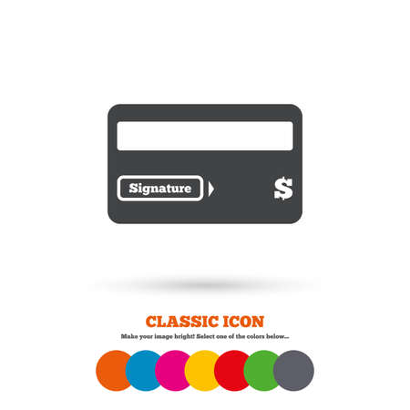debit: Credit card sign icon. Debit card symbol. Virtual money. Classic flat icon. Colored circles. Vector Illustration