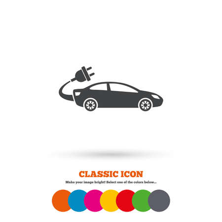 electric vehicle: Electric car sign icon. Sedan saloon symbol. Electric vehicle transport. Classic flat icon. Colored circles. Vector