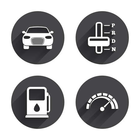 automatic transmission: Transport icons. Car tachometer and automatic transmission symbols. Petrol or Gas station sign. Circles buttons with long flat shadow. Vector