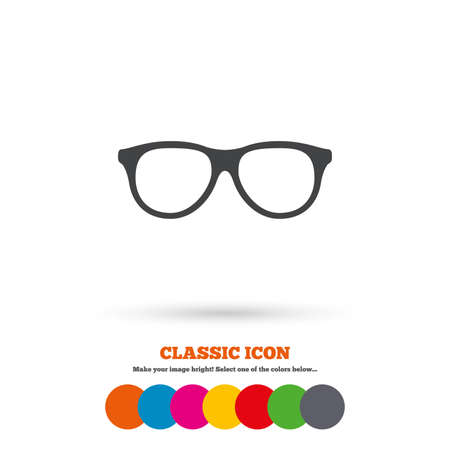 eyeglass: Retro glasses sign icon. Eyeglass frame symbol. Classic flat icon. Colored circles. Vector