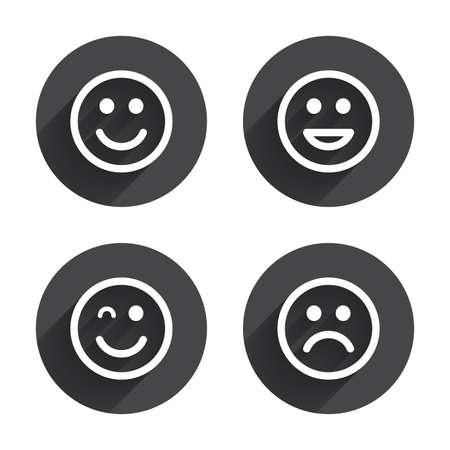 clin d oeil: Ic�nes de sourire. Heureux, triste et clin d'oeil faces symbole. Rire lol signes smiley. Cercles boutons avec ombre plat. Vecteur