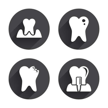 gingivitis: Dental care icons. Caries tooth sign. Tooth endosseous implant symbol. Parodontosis gingivitis sign. Circles buttons with long flat shadow. Vector Illustration