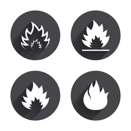 inflammable: Fire flame icons. Heat symbols. Inflammable signs. Circles buttons with long flat shadow. Vector