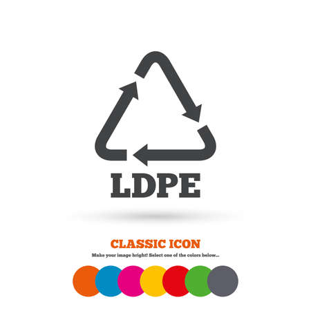 monomer: Ld-pe icon. Low-density polyethylene sign. Recycling symbol. Classic flat icon. Colored circles. Vector