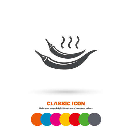 spicy food: Hot chili pepper sign icon. Spicy food symbol. Classic flat icon. Colored circles. Vector