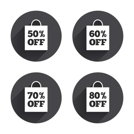 60 70: Sale bag tag icons. Discount special offer symbols. 50%, 60%, 70% and 80% percent off signs. Circles buttons with long flat shadow. Vector Illustration