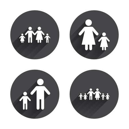famiglia numerosa: Grande famiglia con l'icona dei bambini. Genitori e bambini simboli. Segni di famiglia con un solo genitore. Madre e padre di divorzio. Circles pulsanti con lunga ombra piatta. Vettore Vettoriali