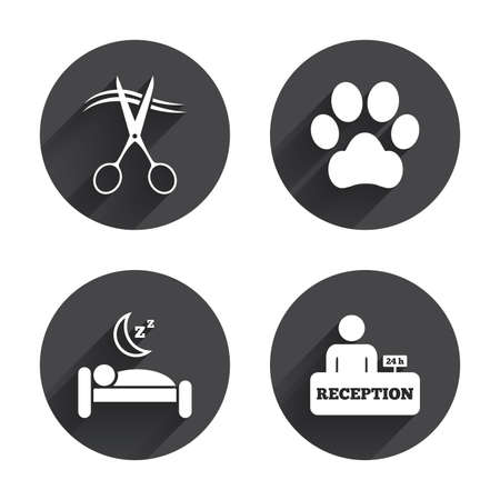 long black hair: Hotel services icons. With pets allowed in room signs. Hairdresser or barbershop symbol. Reception registration table. Quiet sleep. Circles buttons with long flat shadow. Vector Illustration