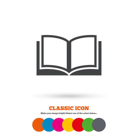 symbol icon: Book sign icon. Open book symbol. Classic flat icon. Colored circles. Vector
