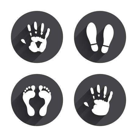 손과 발 인쇄 아이콘. 상표 신발과 맨발 기호입니다. 기호를 입력하지 마십시오 중지합니다. 긴 평면 그림자와 원 버튼. 벡터 일러스트
