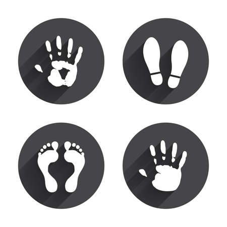 feet: Hand and foot print icons. Imprint shoes and barefoot symbols. Stop do not enter sign. Circles buttons with long flat shadow. Vector Illustration