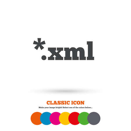 File document icon. Download XML button. XML file extension symbol. Classic flat icon. Colored circles. Vector Illustration