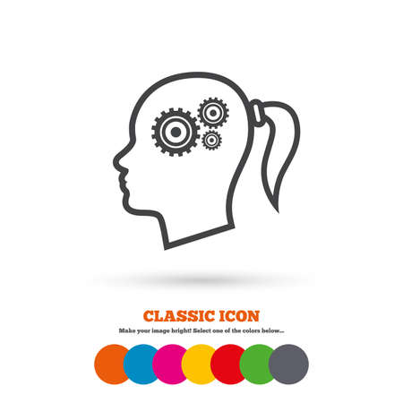 classic woman: Head with gears sign icon. Female woman human head think symbol. Classic flat icon. Colored circles. Vector