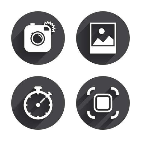 autofocus: Hipster retro photo camera icon. Autofocus zone symbol. Stopwatch timer sign. Landscape photo frame. Circles buttons with long flat shadow. Vector