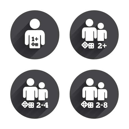 four friends: Gamer icons. Board games players sign symbols. Circles buttons with long flat shadow. Vector