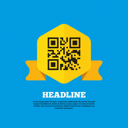 coded: Qr code sign icon. Scan code symbol. Coded word - success! Yellow label tag. Circles seamless pattern on back. Vector