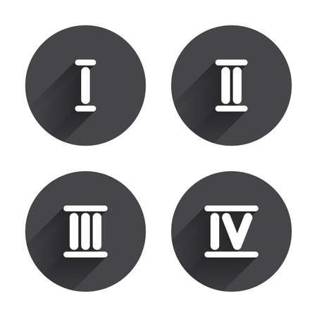 ancient roman: Roman numeral icons. 1, 2, 3 and 4 digit characters. Ancient Rome numeric system. Circles buttons with long flat shadow. Vector