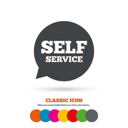 maintenance symbol: Self service sign icon. Maintenance symbol in speech bubble. Classic flat icon. Colored circles. Vector Illustration