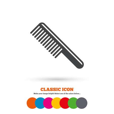 comb hair: Pettinare i capelli sign icon. Simbolo Barber. Icona piatta Classic. Cerchi colorati. Vettore