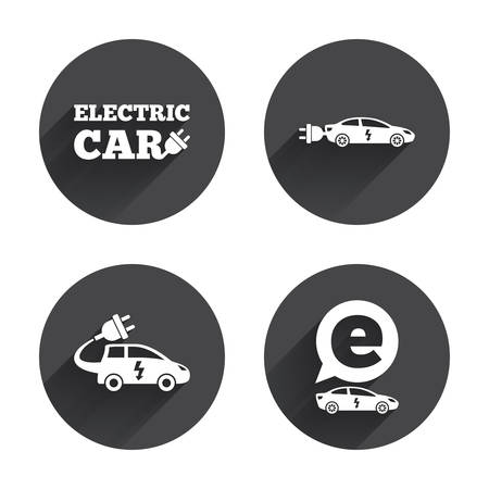 hatchback: Electric car icons. Sedan and Hatchback transport symbols. Eco fuel vehicles signs. Circles buttons with long flat shadow. Vector