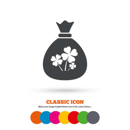 lucky bag: Money bag with Clovers sign icon. Saint Patrick symbol. Classic flat icon. Colored circles. Vector
