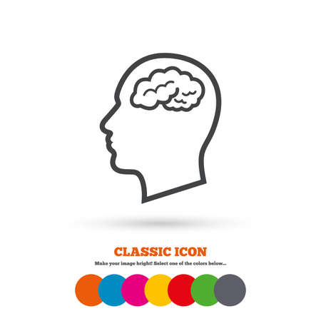 Head with brain sign icon. Male human head think symbol. Classic flat icon. Colored circles. Vector