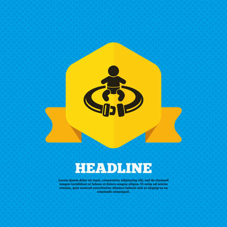 back belt: Fasten seat belt sign icon. Child safety in accident. Yellow label tag. Circles seamless pattern on back. Vector