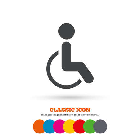 invalid: Disabled sign icon. Human on wheelchair symbol. Handicapped invalid sign. Classic flat icon. Colored circles. Vector