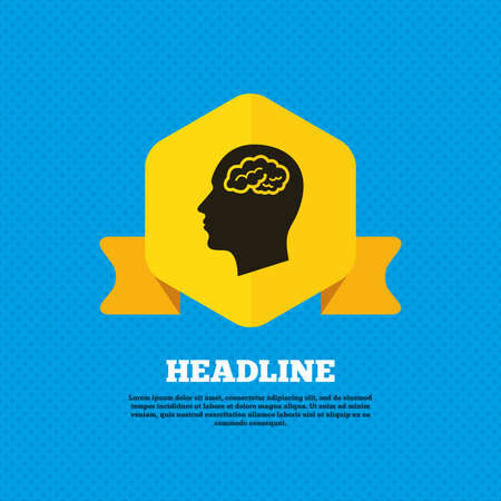 head tag: Head with brain sign icon. Male human head think symbol. Yellow label tag. Circles seamless pattern on back. Vector Illustration