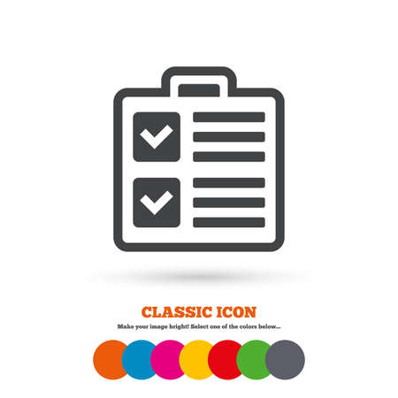 poll: Checklist sign icon. Control list symbol. Survey poll or questionnaire form. Classic flat icon. Colored circles. Vector