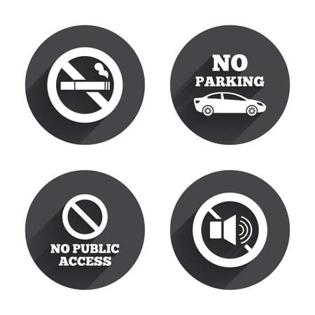 private access: Stop smoking and no sound signs. Private territory parking or public access. Cigarette symbol. Speaker volume. Circles buttons with long flat shadow. Vector