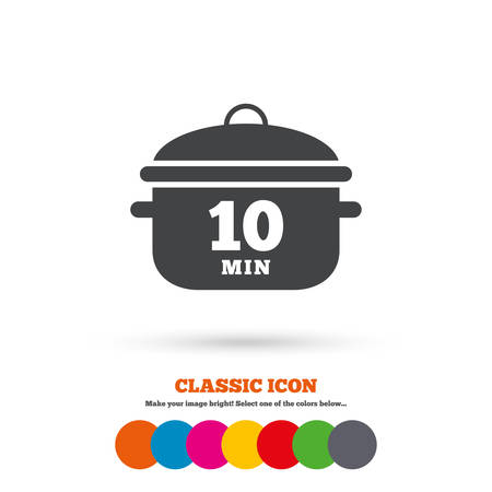 stew: Boil 10 minutes. Cooking pan sign icon. Stew food symbol. Classic flat icon. Colored circles. Vector