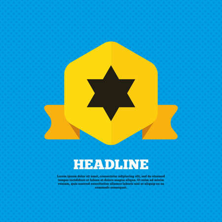 hexagram: Star of David sign icon. Symbol of Israel. Jewish hexagram symbol. Shield of David. Yellow label tag. Circles seamless pattern on back. Vector