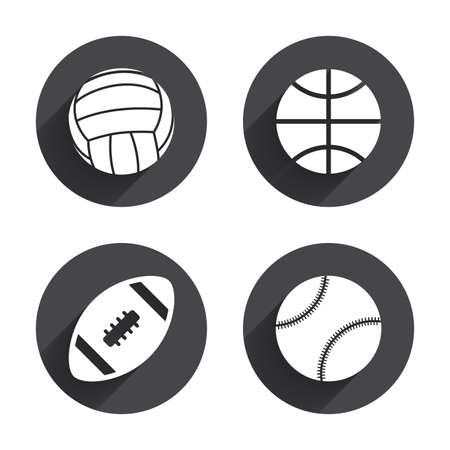 volleyball: Sport balls icons. Volleyball, Basketball, Baseball and American football signs. Team sport games. Circles buttons with long flat shadow. Vector