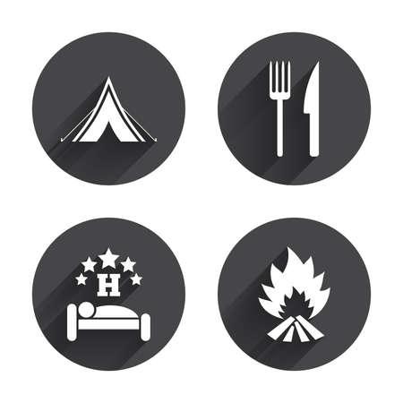 fork road: Comida, sue�o, tienda de campa�a y el fuego iconos. Cuchillo y tenedor. Hotel o alojamiento y desayuno. Las se�ales de tr�fico. C�rculos botones con larga sombra plana. Vector