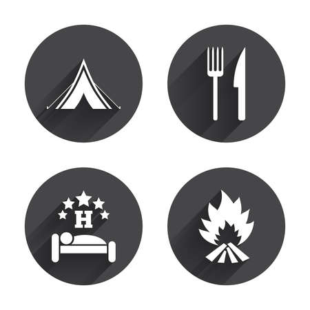 breakfast in bed: Food, sleep, camping tent and fire icons. Knife and fork. Hotel or bed and breakfast. Road signs. Circles buttons with long flat shadow. Vector