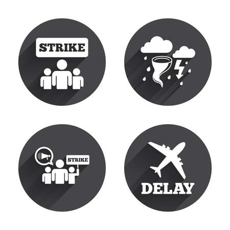 bad weather: Strike icon. Storm bad weather and group of people signs. Delayed flight symbol. Circles buttons with long flat shadow. Vector
