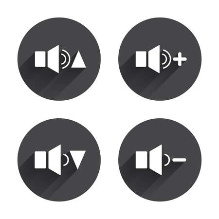 quieter: Player control icons. Sound louder and quieter signs. Dynamic symbol. Circles buttons with long flat shadow. Vector