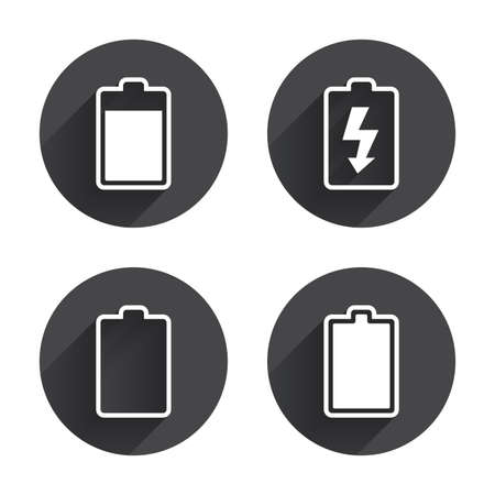 electrochemical: Battery charging icons. Electricity signs symbols. Charge levels: full, empty. Circles buttons with long flat shadow. Vector