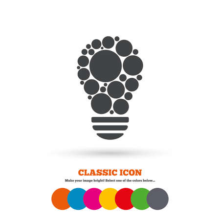 classic light bulb: Light lamp sign icon. Bulb with circles symbol. Idea symbol. Classic flat icon. Colored circles. Vector