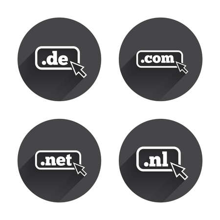 dns: Top-level internet domain icons. De, Com, Net and Nl symbols with cursor pointer. Unique national DNS names. Circles buttons with long flat shadow. Vector