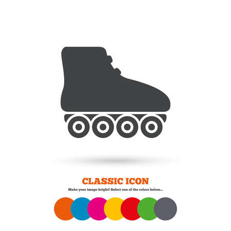 rollerblades: Roller skates sign icon. Rollerblades symbol. Classic flat icon. Colored circles. Vector Illustration