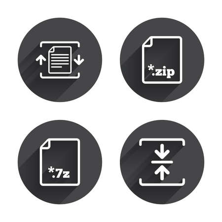 zipped: Archive file icons. Compressed zipped document signs. Data compression symbols. Circles buttons with long flat shadow. Vector