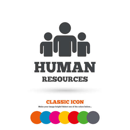 Human resources sign icon. HR symbol. Workforce of business organization. Group of people. Classic flat icon. Colored circles. Vector