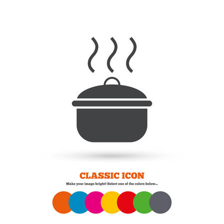 stew pan: Cooking pan sign icon. Boil or stew food symbol. Classic flat icon. Colored circles. Vector